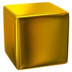 3d illustration of gold cube