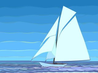 Vector illustration of cartoon sailing yacht in blue tone.