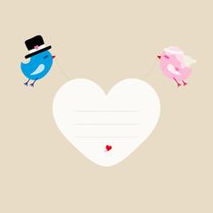 Wedding Birds Flying Holding Heart Frame