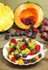 fruit salad with red fruits