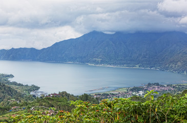 big lake at the volcano bottom Batur, Bali, Indonesia