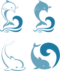 Photo sur Aluminium Dauphins Silhouettes of the dolphins