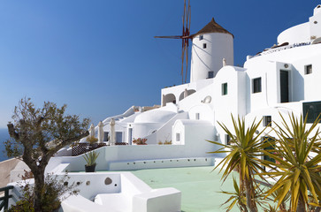 Traditional village of Oia at Santorini in Greece