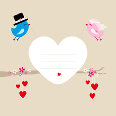 Wedding Birds Flying Holding Heart Frame Tree
