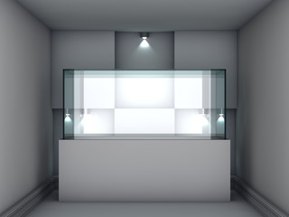 3d glass showcase and niche with spotlights for exhibit in the g