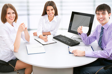 Young business people working at the office