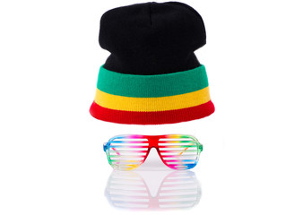 Rastafari hat and clourful glasses