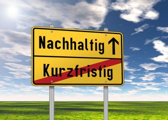 "Ortsschild ""Nachhaltig / Kurzfristig"""