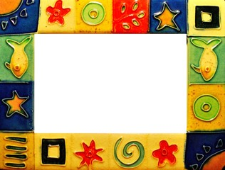A colourful picture frame with sea symbols