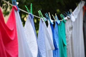 hanged cloths in order to dry