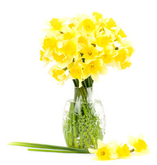 Canvas Prints Narcissus Beautiful spring yellow flowers in a glass vase