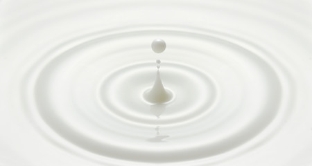 milk drop or white liquid drop created ripple