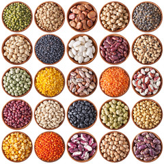 collection of wooden bowls with legumes