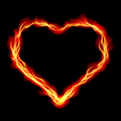 Heart in Fire, abstract vector background