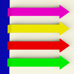 Four Multicolored Long Arrow Tabs Over Paper For Menu List Or No