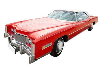 Foto op Plexiglas Oude auto s red cadillac car, cabriolet, isolated