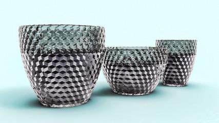 Three empty vase of glass, isolated
