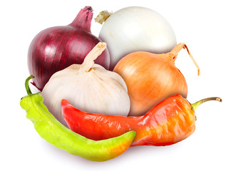 Motley onions, garlic and peppers