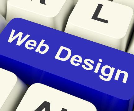 Web Design Computer Key Showing Internet Or Online Graphic Desig