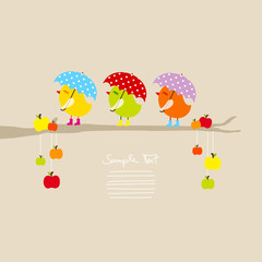 3 Cute Birds With Umbrella On Tree With Apples