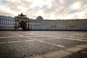 Saint Petersburg's Palace Square in dramatic light