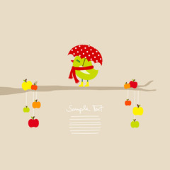 Cute Bird With Umbrella On Tree With Apples