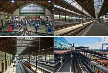 Aluminium Prints Train Station Gare de Bâle CFF SBB.