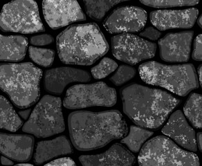 Vector seamless texture of stonewall in black color.