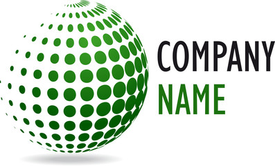 Company business 3D logo green sphere desing