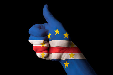 cape verde national flag thumb up gesture for excellence and ach