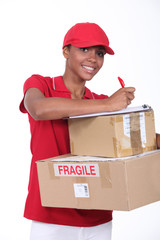 young woman delivering parcels