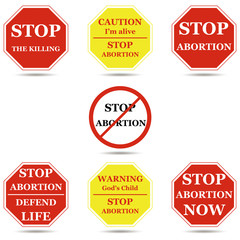 Stop abortion sign set isolated on white vector