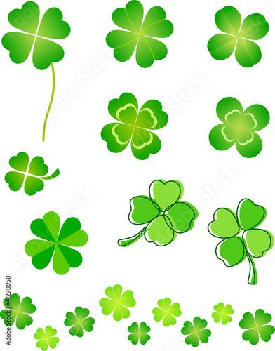 four leaf clover set fotolia com の ストック画像とロイヤリティフリー
