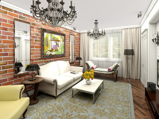 Living room. Eclectic interior: loft and classic.