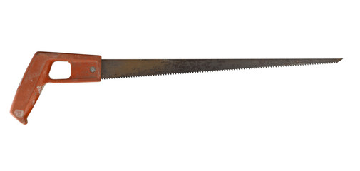 Rusty saw isolated on white background