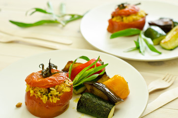 stuffed tomatoes with roasted vegetables