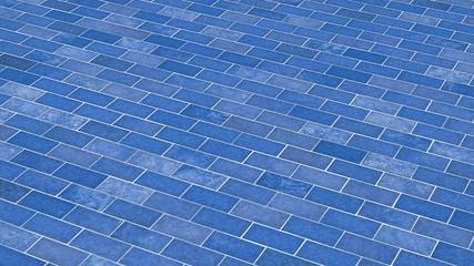 Blaue Ziegelsteine - diagonal