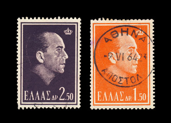 King of Greece Paul I portrait on 2 stamps