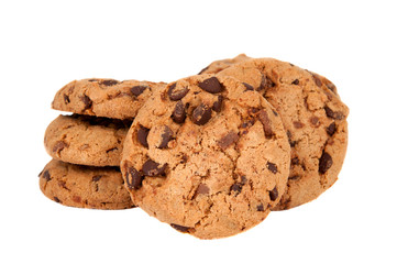 Cookies with chocolate drops isolated