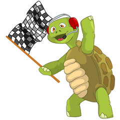 Funny Turtle. Race Finish.