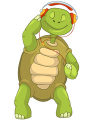 Funny Turtle Listening to Music.