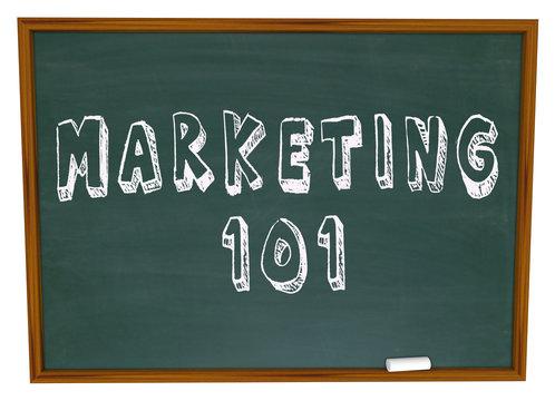Marketing 101 Words on Chalkboard Basics