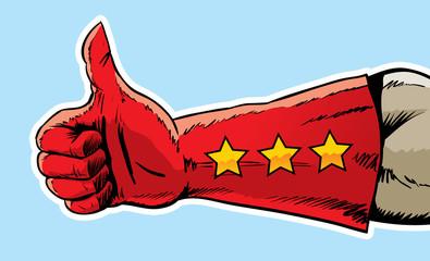 Superhero hand giving the thumbs up