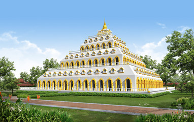 3D render of building temple and monument in Thailand