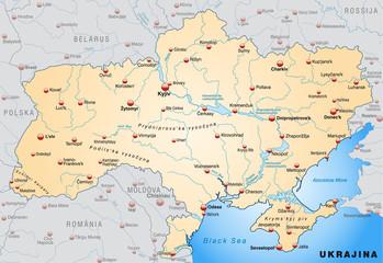 Landkarte der Ukraine mit Hauptstädten