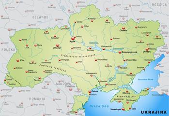 Landkarte der Ukraine mit Nachbarländern