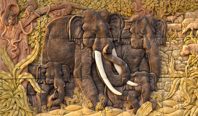 Elephant carved temple door in the countries of Thailand