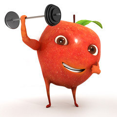 3d apple lifting weight