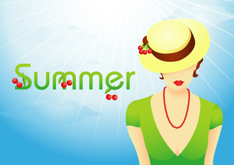 Summer background with girl