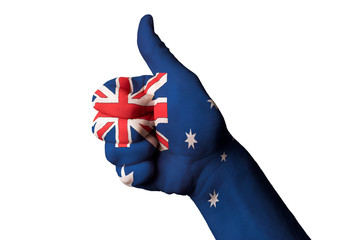 australia national flag thumb up gesture for excellence and achi